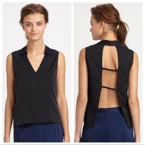 AIKO Black Silk and Cotton Open Back Tank Top